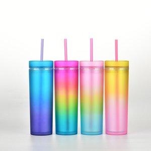 2021 gradient arc-en-ciel couleur eau tasses droites corporelles bicouche tasse de paille cuillère plastique 17 5 mg B3
