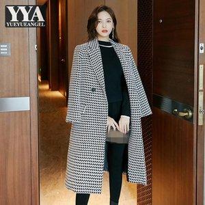 Mujeres Woolen Coat Medium Long Tweed Outdoor Elegante Oficina Oficina Damas Tela Escocieta Cubiertas Chaqueta Chaqueta Sashes Slim Fit Moda Outerwear Women's Wool
