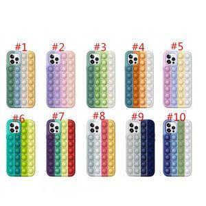 POP IT Fidget Case Casas de teléfono de silicona de descompresión para iPhone 12 11 Pro XS MAX XR 7 8 PLUS HUAWEI MATE30 MATE40 P40