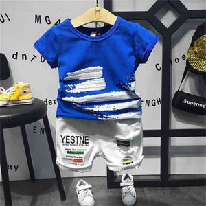 2PCS boys fashion clothing set kids summer blue t shirt and white ripped short set baby casual clothes children 2-7 years 210326