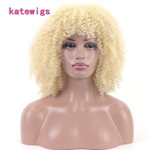 Synthetic Natural Afro Kinky Curly Hair Short Ginger With Bangs Wigs For African Women Daily Use