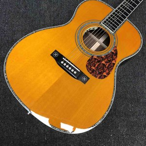 Custom OM Body Solid Spruce Top Acoustic Guitar 42SS Type Abalone Binding Yellow Color Eric Clapton Signature Soundhole Pickup EQ