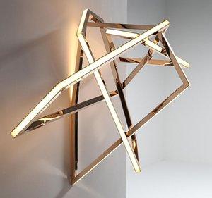 Luxe Creative Géométrique Salon Gold Wall Lampier Designer Minimaliste d'éclairage intérieur Hall Store