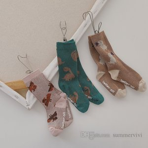 Autumn boys dinosaur printed socks kids cartoon knitted casual short sock girls non-slip cotton breathable sox Q2182