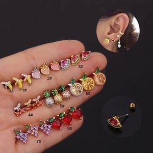 Steel Trendy Multicolor Cz Fruit Cartilage Stud Earring Screw Back Tragus Conch Lobe Ear Piercing Jewelry