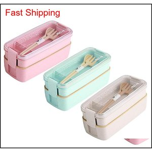 Kitchen Housekeeping Organization Home & Garden750Ml Healthy Material Wheat St Bento Boxes 2 Layer Microwave Dinnerware Food Storage Contain