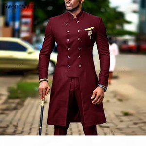 Indian Burgundy Wedding Tuxedos 2 Pieces Double Breasted Shawl Lapel Groom Wear Party Prom Best Men Blazer Suit(Jacket+Pants)