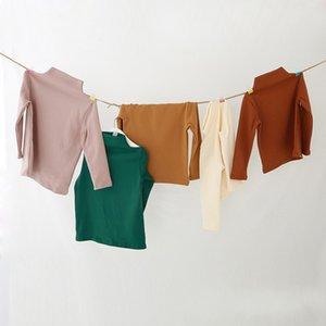 Dudu ins ربيع الخريف أطفال بنات القطن فارغة بلايز الأطفال عالية الرقبة القطن اللباس لينة تيز مصمم ins الطفل الأولاد الملابس 536 K2