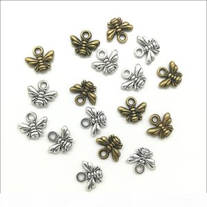 Lot 300pcs Little Bees Alloy Charms Pendants Retro Jewelry Making DIY Keychain Ancient Silver Pendant For Bracelet Earrings 11x10mm