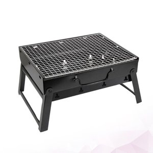 Tools & Accessories Outdoor Barbecue Grill Roasting Rack Charcoal Tool Portable Foldable BBQ (Black)