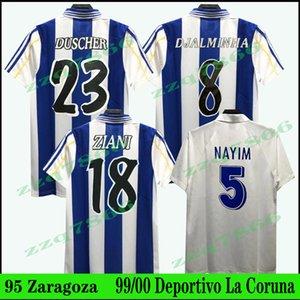 1999 2000 DePortivo de la coruna 레트로 축구 유니폼 꽂이 홈 빈티지 Makaay Mauro Silva Fran Djalminha 95 레알 Zaragoza Nayim Aguado 클래식 축구 셔츠