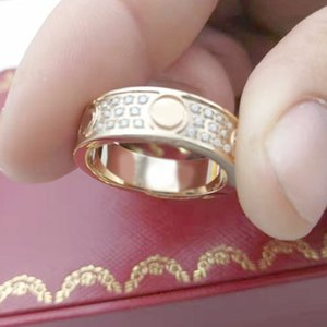 cai luxury ring womens box stainless steel rose gold couple zircon jewelry gifts for woman Accessories wholesale