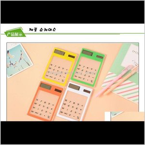 !Wholesale - Calculator Transparent Touch Screen Solar Powered Green Black Blue Orange White Yellow F C22Gv R1Zhh