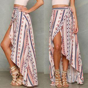 Skirts Hirigin 2021 Boho Asymmetric Slit Long Skirt Summer Women High Waist Floral Print Beach Ladies Casual Party Clubwear