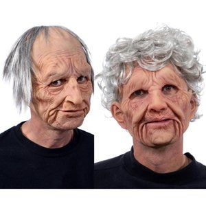 Grandpa Grandma Mask Latex Made Old Man Woman Wrinkled Full Face Masks Light Gray Hair Halloween Party Costume COS Props
