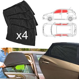 4pcs Car Front & Rear Side Window Sun Visor Shade Mesh Cover Sunshade Insulation Anti-mosquito Fabric Shield UV Protector