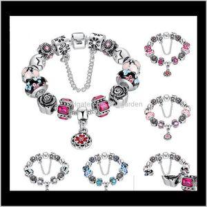 Link Bamoer Sier Pulsera de cuentas de cristal original para mujeres con cadena de seguridad Rhinestone Strand Pulseras Luxury PA1836 LKJI8 OQTAN