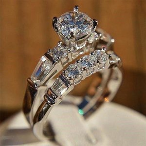 Wedding Rings Shiny 2pcs set White Stone Zircon Engagement Ring Set For Women Silver Color Vintage Bridal Jewelry Gift B4N967