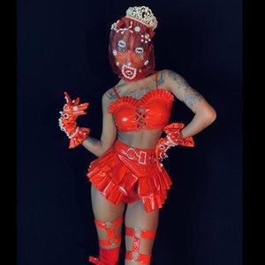 나이트 클럽 여성 재미있는 의상 빨간색 PU 가죽 모조 다이아몬드 비키니 스커트 헤드 기어 복장 섹시한 가수 댄서 팀 무대 착용