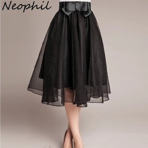 Neophil 2021 старинный черный розовый тюль высокая талия лук MIDI юбки девушки женские органзы сетки плиссированные шариковые платья пушистые Jupes S08014 210324