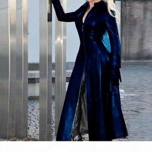 Laamei Vintage PU Jacket 2021 Winter X-Long Women Faux Leather Coat Women Fashion Solid Stand-up Collar Zipper Retro Coat Female