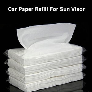 Car Extractable Paper Tissue Vehicle Hanging Sun Visor Paper Artificial Napkin Refill Car Tissue Box Interior Accessories 210326