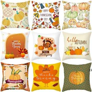 Thanksgiving cartoon series pillow set of peach parchment print sofa home decoration office cushion cover hug pillowcase HWB10545