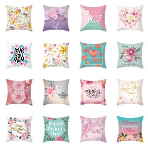 Happy Mother's Day Pillow Case Soft Fabric Flannelette Square 18x18 Inch Floral Printed Cushion Cover