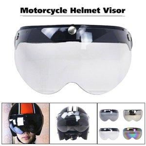 Motorcycle Helmets Professional Anti UV Racing Windproof Scratch Proof Lens Front Flip Up Moto Helmet Visor 3-Snap Anti-fog Outdoor Protecti