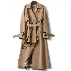 Women's Trench Coats Long Coat Women Autumn Winter Double Breasted With Belt Cloak Mujer Windbreaker Female Business Outerwear