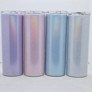 Sublimazione Bianco Bianco 20 once Glitter Tumbler Acciaio inox Skinny Tazza Rainbow Tumblers Vuoto Tazze da caffè con la birra isolata sottovuoto con paglia