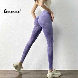 CHRLEISURE Tie Dye Yoga Pants Buttery-soft Sport Running Athletic Pants High Elasticity Gym Workout Leggings Sport Women Fitness X0628