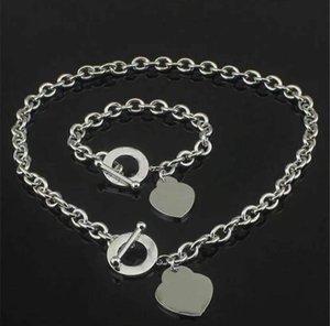 Mode High Version Edelstahl Anfangsbuchstaben Halskette Armband Ketten für Lady Womens Party Hochzeit Liebhaber Geschenk Schmuck mit Box