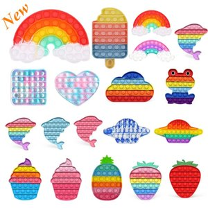 New 2021 Rainbow Push Popit Bubble Fidget Sensory Toy Stress Reliever Stress Relief Toys Anxiety Relief Toys For Kids Birthday Party Gifts