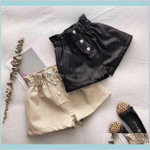 Ins Kids Girls Pu Shorts Autumn Leather Front Buttons Desginer Fleece Linned Children For 2-10T Baby Materni Nembv