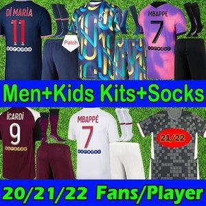 French club Full Sets 21 22 Player Version soccer jerseys 4th MBAPPE VERRATTI KEAN 2021 DI MARIA KIMPEMBE Fans Version Adult+Kids Kits+Socks Football Shirts jersey