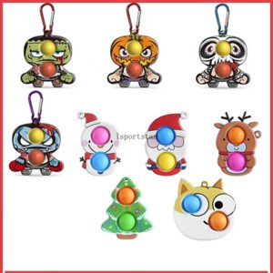 Creative Christmas Ornaments Fidgets Gift Finger New Silicone Fingers Halloween Keychain Decompression Toys Relieve Stress C2991