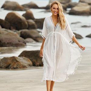 Beach Dress Long Cover Up Vestido Largo Verano Mujer Bathing Suit Ups Sarong Robe De Plage Tunic #Q939 Women's Swimwear