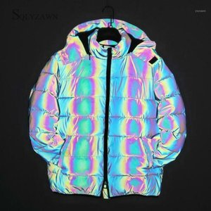 Winter Hoodie Rainbow Reflective Warm Thick Parka Coat Men Women Gothic Gray Puffer Bubble Jacket Loose Puffy Bomber Overcoats1