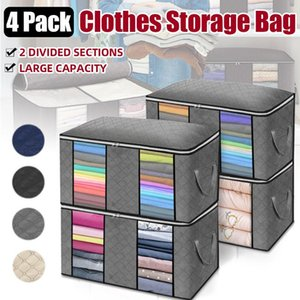 Storage Bags 4pcs set Clothes Quilt Blanket Closet Sweater Organizer Box Sorting Pouches Cabinet Container Travel Home