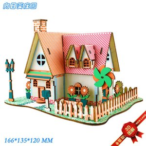 Sunflower Manor Laser 3d Upgrade 2 Cm Board Wooden Puzzle House Construction Children's Toys 6.1 Gifts QCBY730