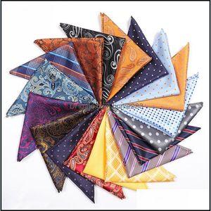 Fashion Aessoriesfashion Pocket Square Handkerchief Aessories Paisley Solid Colors Vintage Business Suit Handkerchiefs Breast Scarf 25*25Cm