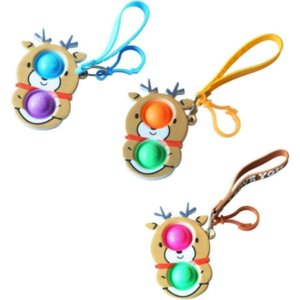 With lanyard fidget sensory bubbles key ring push finger puzzle toys 2021 christmas santa clause elk snowman xmas tree cartoon charms 496