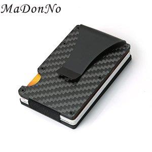 حاملي بطاقات ألياف الكربون RFID مكافحة لص حامل الألومنيوم المعادن السحر الحد الأدنى محفظة الرجال الأعمال معرف حقيبة حامل بطاقة البنك