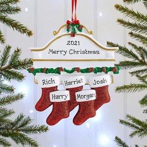 Christmas Ornament 2021 Socking Pendant DIY Name Blessings Resin Christmas Hanging Cute Creative Socks Xmas Gifts HWE9723