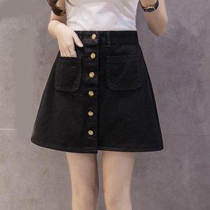 Skirts Denim Women Mini Skirt Summer Vintage High Waist Korean Single Button Pockets Blue Jeans A-line Ladies Saia Jupe Femme With Belt
