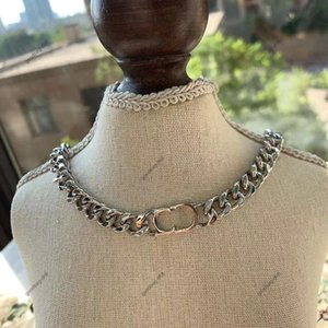 Classic luxurys designer jewelry chains women cd letter decoration Cuban chain gold and silver high quality necklace