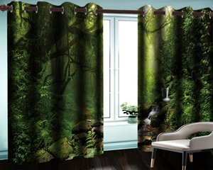 Verdant Virgin Forêt 3D Paysage Rideau Moderne Accueil Décoration Salon Chambre à coucher Cuisine Blackout Personnalisé Toute taille Rideaux de fenêtre