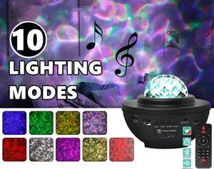 Galáxia colorida Stary Night Lamp Star Sky Projetor Luz Oceano Onda com música Bluetooth Speaker Remoto Controle LED Strings