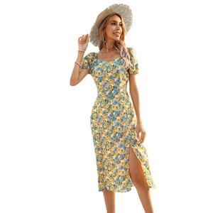 Summer Elegant Floral Women Print Dress Short Sleeve Slim Ladies High Split Knee-Length Party Dresses